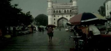 Hyderabad: A view of the iconic Charminar on a rainy day in Hyderabad on Sep 16, 2020. (Photo: IANS)
