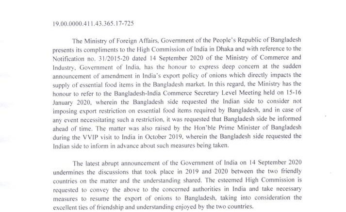 B'desh urges India to revoke ban on onion export