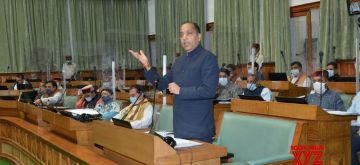 New Delhi: Himachal Pradesh Chief Minister Jai Ram Thakur addresses the State Assembly during the Monsoon Session, in Shimla on Sep 17, 2020. (Photo: IANS)