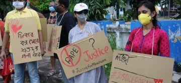 Kolkata: Social activists protest against the alleged gang rape and murder of a 19-year-old girl in Uttar Pradesh's Hathras; in Kolkata on Oct 4, 2020. (Photo: Kuntal Chakrabarty/IANS)