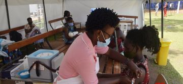 Kampala, Oct. 17, 2020 (Xinhua) -- A woman has an injection during routine immunization exercise at Kiswa Health center, Kampala, Uganda, Oct. 16, 2020. Uganda has started immunizing over 38.4 million children and adults who missed critical vaccination services disrupted by the COVID-19 lockdown. (Xinhua/Nicholas Kajoba/IANS)