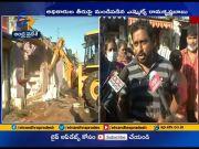 GVMC demolishes Illegal shops At vizag  (Video)