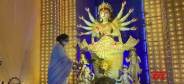 Kolkata: West Bengal Chief Minister Mamata Banerjee inagurated Community Puja pandal on the eve of Durga puja festival in Kolkata on October 18, 2020. (Photo: IANS)