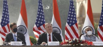 New Delhi: Defence Minister Rajnath Singh, US Defence Secretary Dr. Mark T. Esper and US Secretary of State Mike Pompeo during India-USA 2+2 Dialogue, at Hyderabad House in New Delhi on Oct 27, 2020. (Photo: IANS)