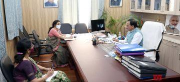 New Delhi: Union Education Minister Ramesh Pokhriyal 'Nishank' holds a review meeting with the Kendriya Vidyalaya Sangathan officials, in New Delhi on Oct 28, 2020. (Photo: IANS/PIB)