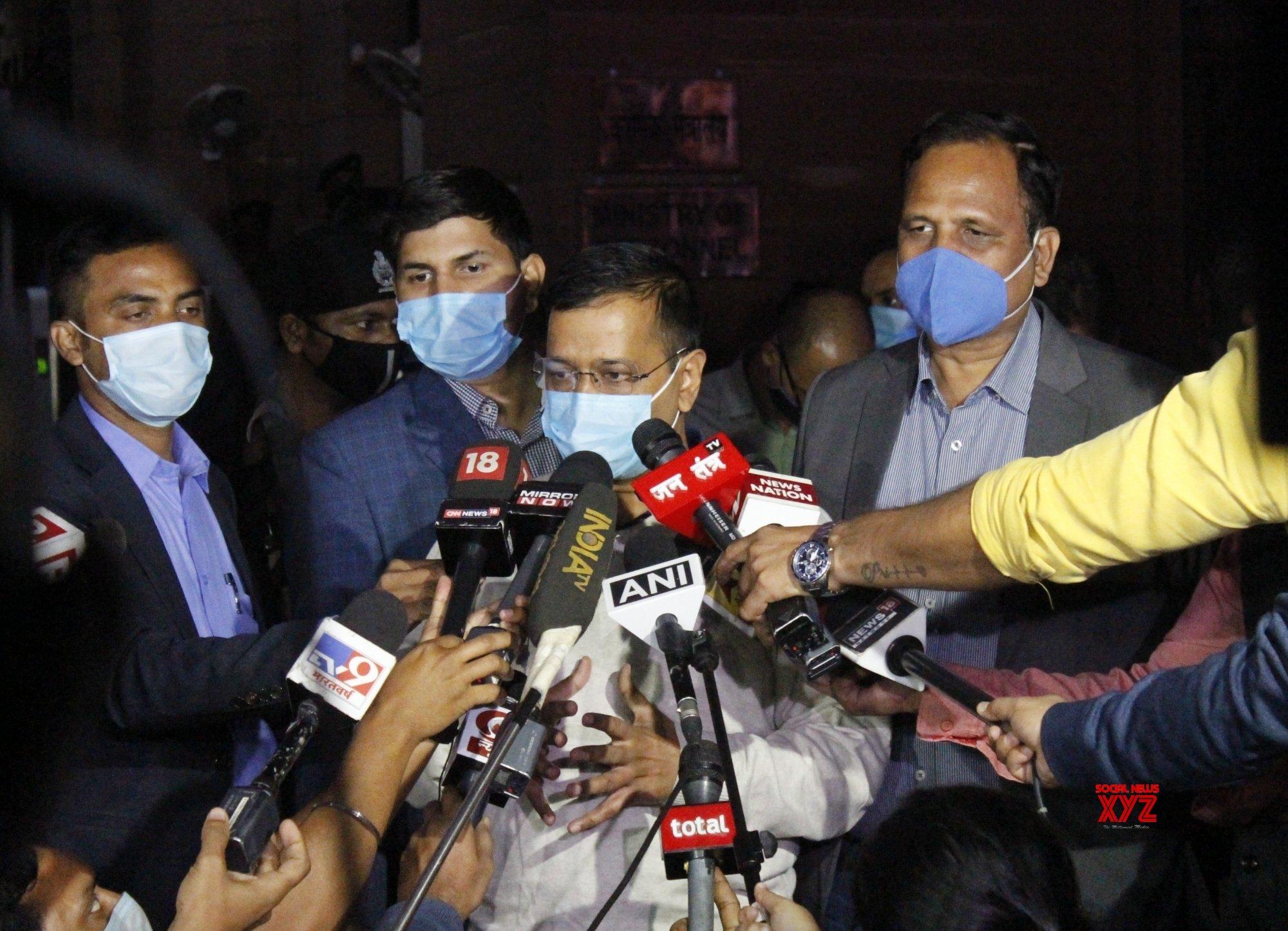 New Delhi: Delhi CM Arvind Kejriwal addresses media after meeting with Amit Shah #Gallery