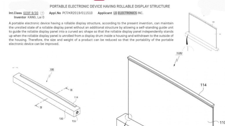 LG patents laptop with rolling display