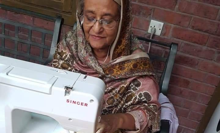 Hasina's photos of her sewing, fishing go viral
