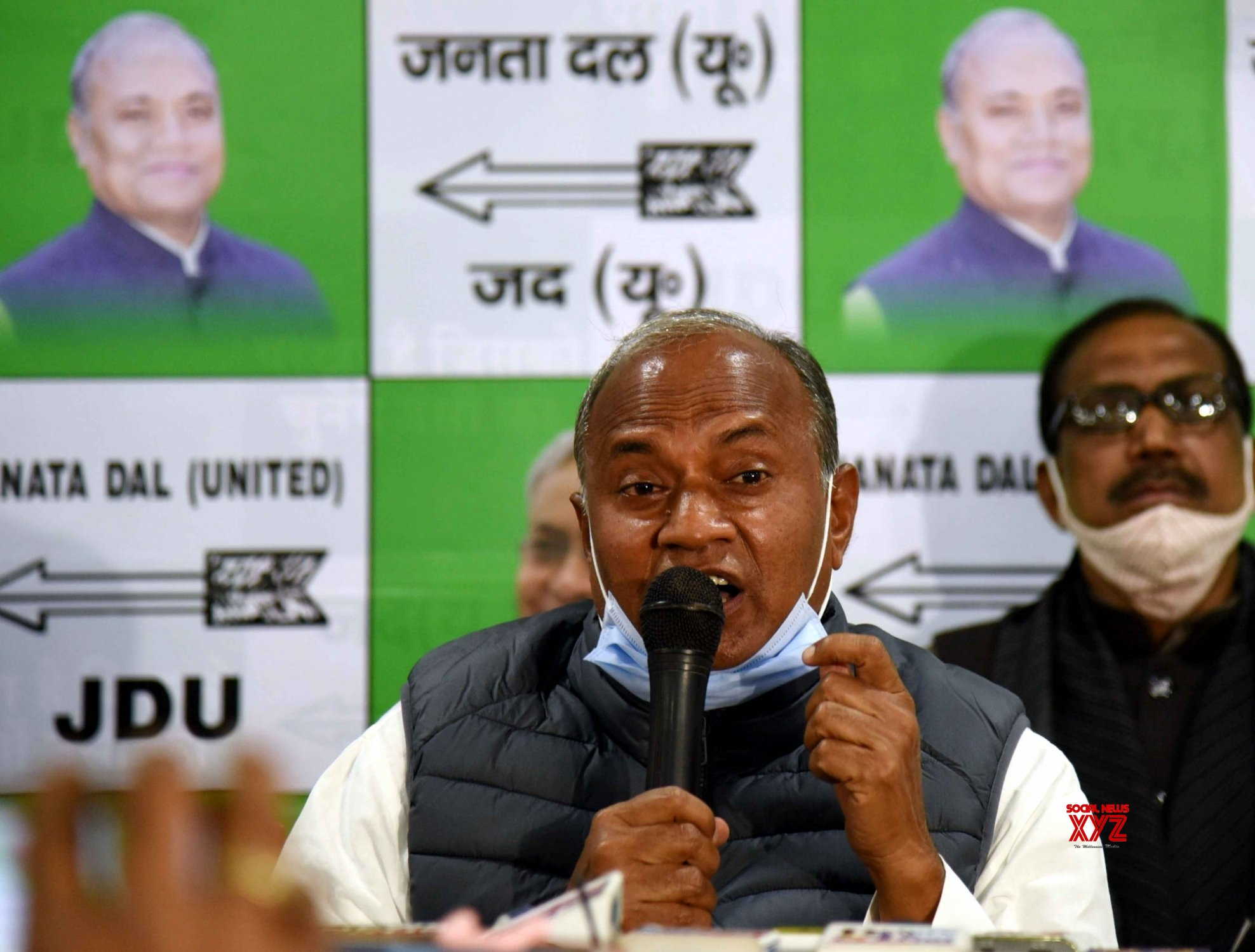 Patna: Janta Dal United National President RCP Singh addressing a press conference #Gallery