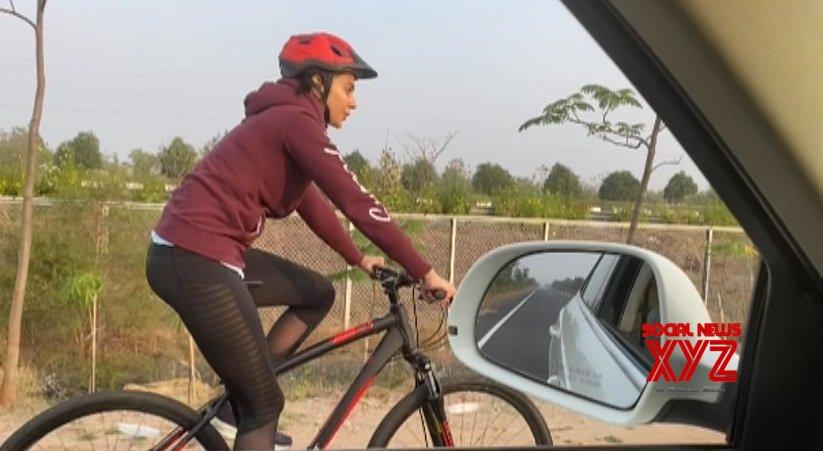 Rakul Preet cycles her way to film set