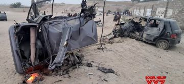 Balochistan, Dec. 27 (Xinhua) -- Photo taken with a mobile phone shows damaged vehicles at the blast site in Panjgur district of Pakistan's southwest Balochistan province on Dec. 26, 2020. (Str/Xinhua/IANS)