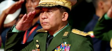 YANGON, July 19, 2019 (Xinhua) -- Myanmar's Commander-in-Chief of the Defense Services Sen-Gen Min Aung Hlaing salutes during the 72nd Martyrs' Day in Yangon, Myanmar, July 19, 2019. Myanmar held a state ceremony here Friday to mark the country's 72nd Martyrs' Day, paying tribute to fallen national heroes including General Aung San and eight others who sacrificed their lives in 1947 for regaining the country's independence. (Xinhua/U Aung/IANS)