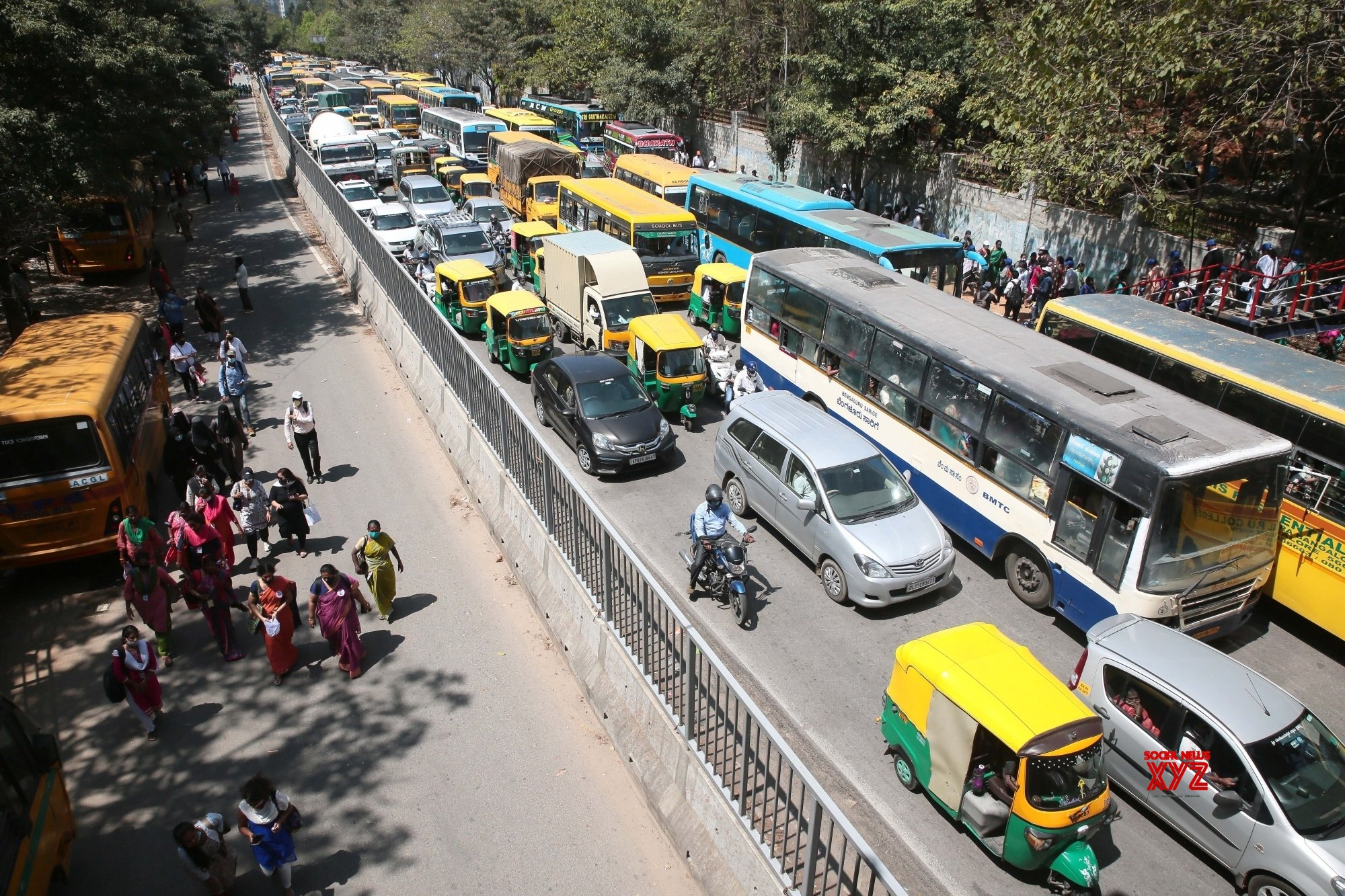 Bengaluru: Traffic jam at Seshadri Road near Freedom park during Teachers protest rally against the state governments, in Bengaluru, Karnataka on Tuesday 23rd February 2021 #Gallery
