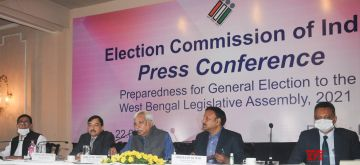 Kolkata:   Chief Election commissioner, Election Commission of India, Sunil Arora at a press conference ahead of Assembly election in Kolkata on Jan 22, 2021  .  (Photo:  Kuntal Chakrabarty/IANS