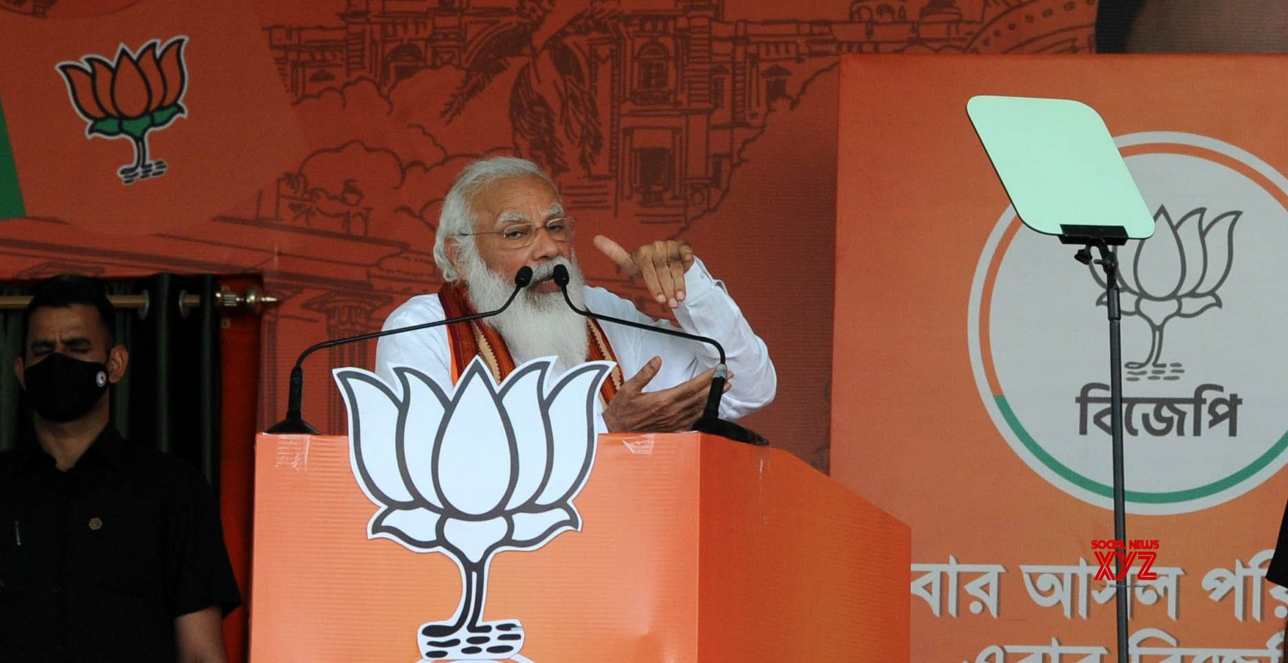 Kolkata : Prime Minister Narendra Modi at a election campaign at Dumurjala Stadium during State Assembly election at Howrah in West Bengal on April 6, 2021. #Gallery