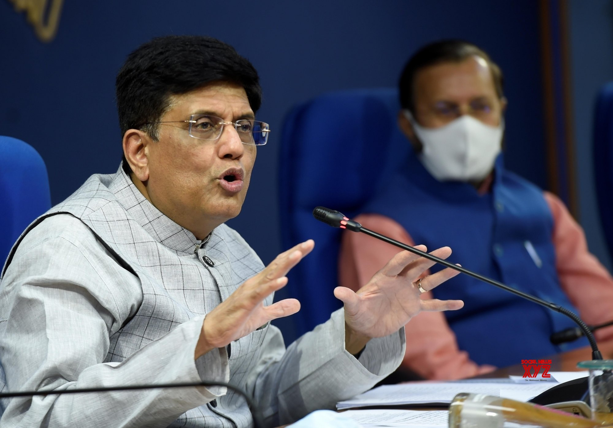 New Delhi: Union Railways Minister Piyush Goyal addresses a press conference on cabinet decisions, in New Delhi, Wednesday, April 7, 2021. #Gallery