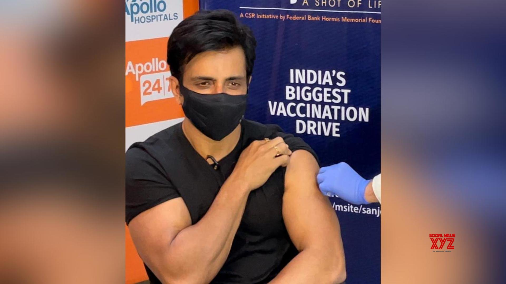Sood Sonu launches Sanjeevani vaccination drive, takes the first COVID-19 jab