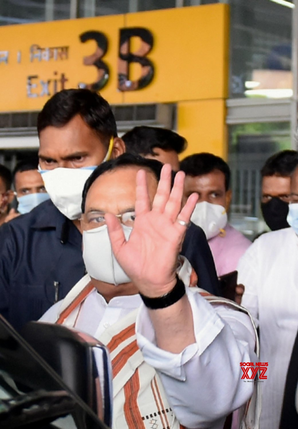 Kolkata : BJP National President J.P Nadda arrived at NSCBI Airport, in Kolkata on May 4, 2021. #Gallery