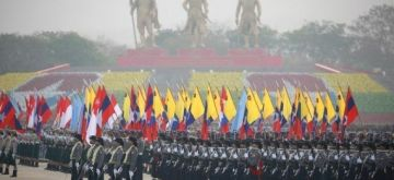 Soldiers stand in a formation during a parade to mark the 76th Armed Forces Day in Nay Pyi Taw, Myanmar, March 27, 2021. (Xinhua/Zhang Dongqiang/IANS)