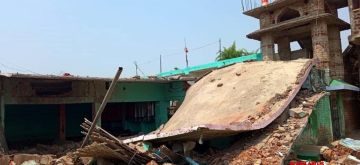 Patna : A massive blast took place on Tuesday morning in a Madarsa under Nagar police station in Bihar's Banka district, which completely destroyed the building. Two to three people are reported to be injured in this incident in Patna on 08 June 2021. (Photo:  Indrajit Dey/ IANS)