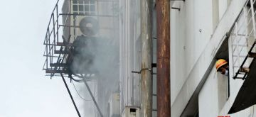 Kolkata:  Smoke comes out from an office building after it caught fire in Kolkata on Tuesday 08 June, 2021. (Photo: Kuntal Chakrabarty/ IANS)