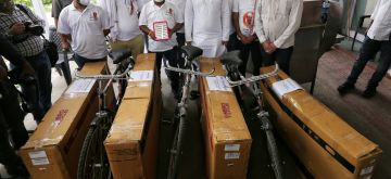 New Delhi :  Indian Youth Congress (IYC) sent Bicycle for PM Modi and Cabinate Ministers against price hike on Petrol and Diesel at IYC office in New Delhi on Thursday , 10 June 2021 (Photo: Wasim Sarvar/ IANS)