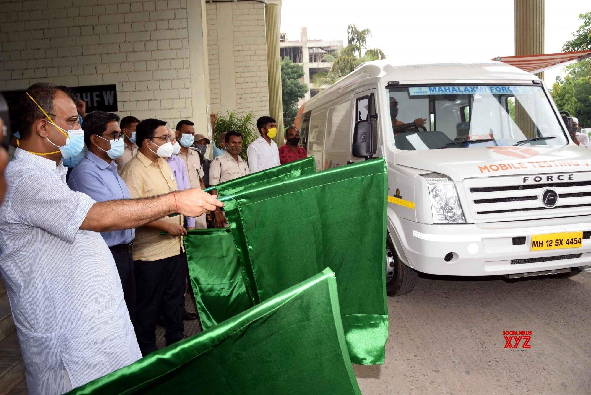 Patna: - Bihar state health minister Mangal Pandey launch My Lab RTPCR testing mobile van, in Patna. #Gallery