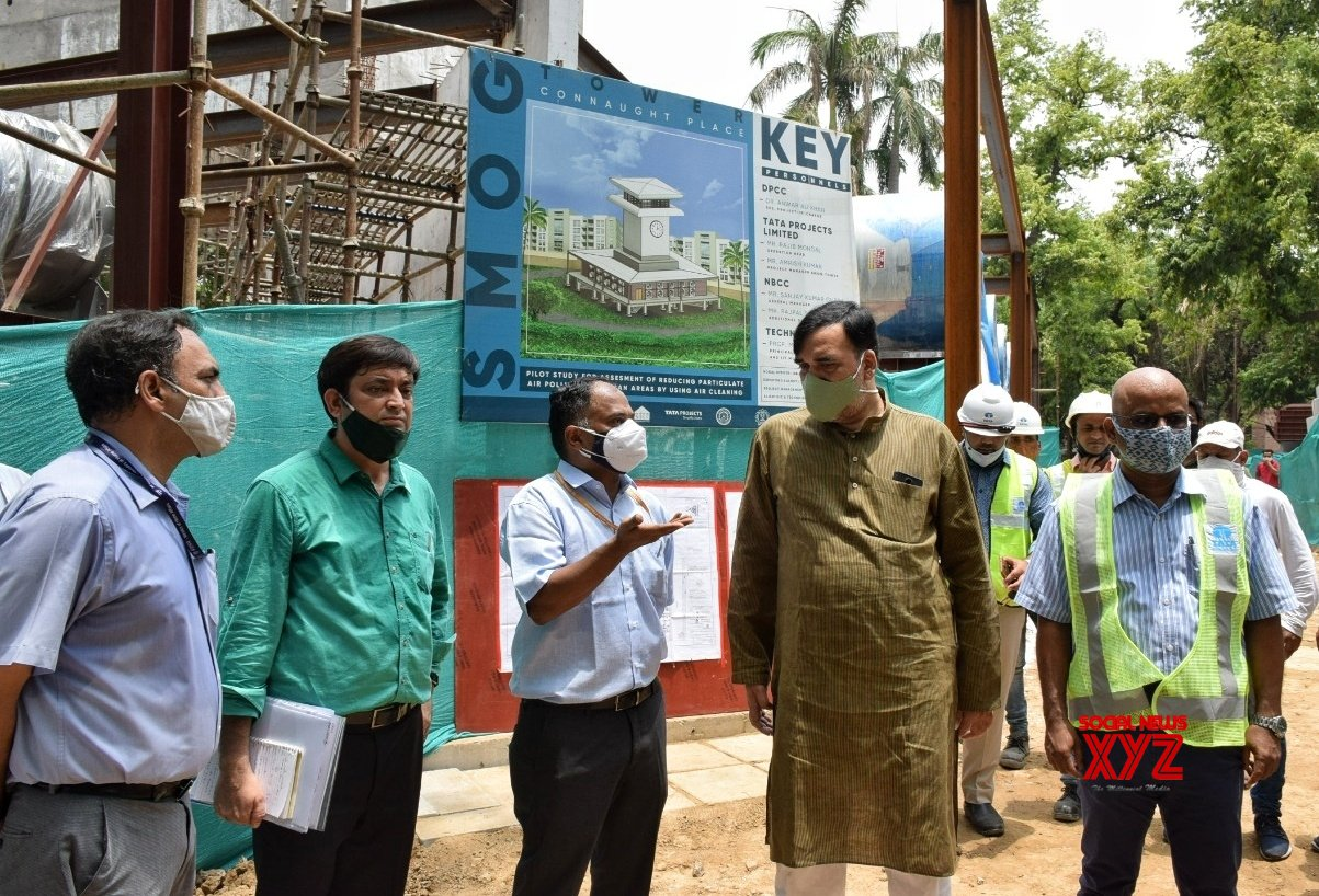 New Delhi : Honble Environment - Minister Gopal Rai visit construction site of Smog Tower at Baba Kharak Singh Marg ,Connaught - Palace - in New Delhi. #Gallery