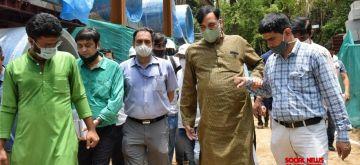 New Delhi :  Hon'ble Environment  Minister Gopal Rai visit construction site of Smog Tower at Baba Kharak Singh Marg ,Connaught  Palace  in New Delhi on Thursday June 10 June 2021 (Photo: Wasim Sarvar/ IANS)
