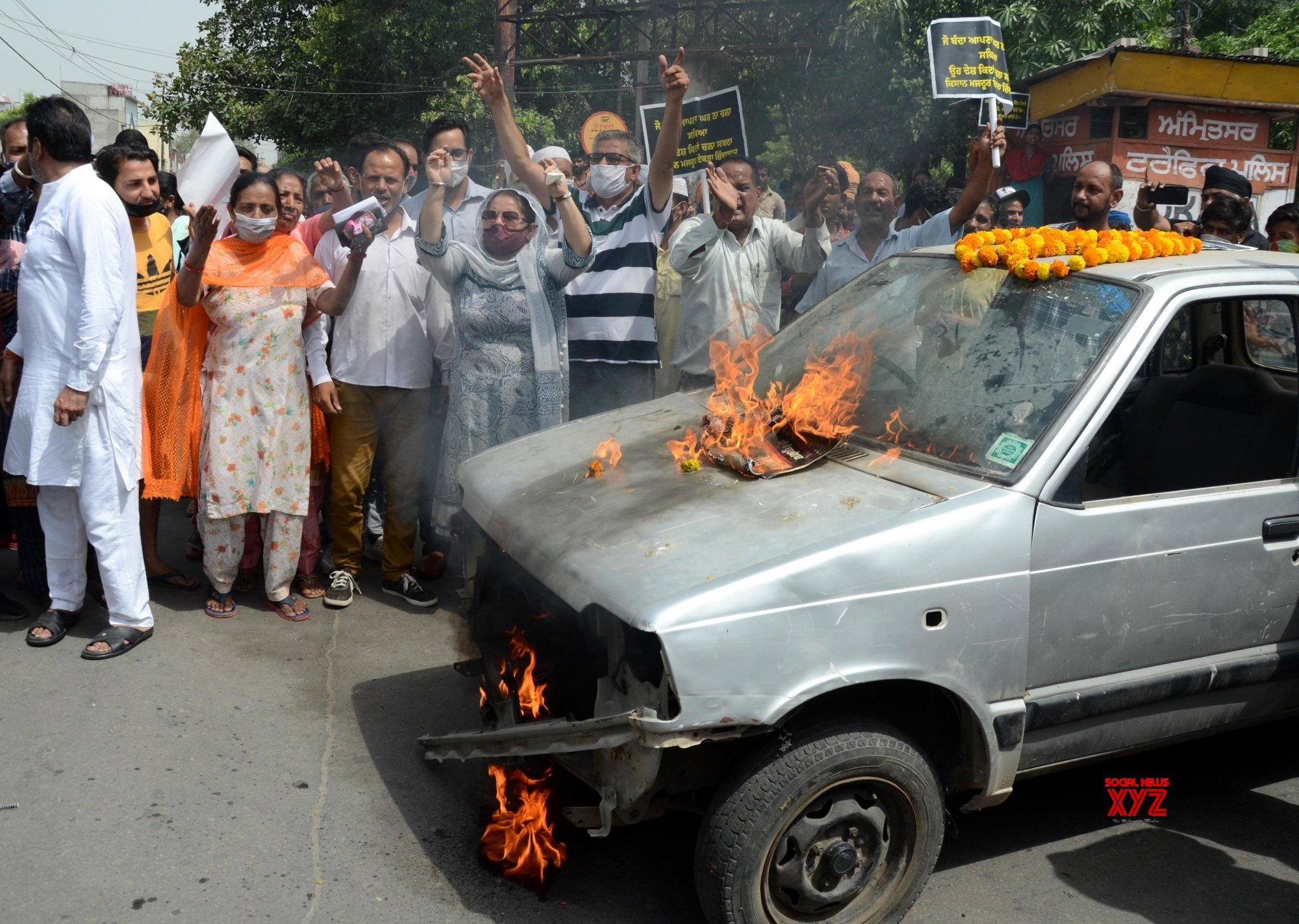 Amritsar: - Congress Party activists and supporters shout slogans during a demonstration to protest against the central government decision to hike fuel price - in Amritsar. #Gallery