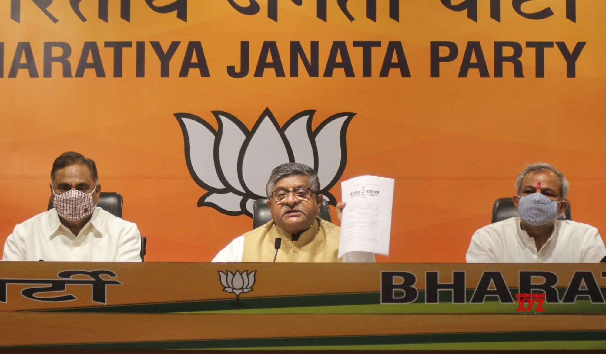 New Delhi : Union Minister - Law and Justice, Electronics and Information Technology and Communications Ravi Shankar Prasad, Adesh Gupta, LoP Rambir Singh Bidhudi and others address a press conference in New Delhi. #Gallery