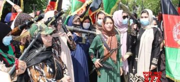 Armed Afghan women take to the streets against Taliban.(Photo courtesy: Facebook)