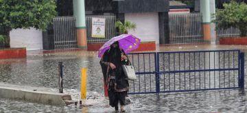 New Delhi : Waterlogging at Seelampur metro station during heavy rains in New Delhi on Monday July 19, 2021.(Photo: Wasim Sarvar/IANS)