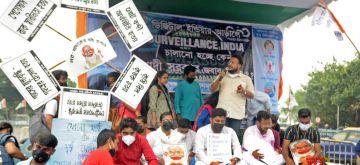 Kolkata: Trinamool Congress students wing agitated to protest against snooping on TMC leader Abhishek Banerjee in Kolkata on Tuesday, July 20, 2021. (Photo: Kuntal Chakrabarty/ IANS)