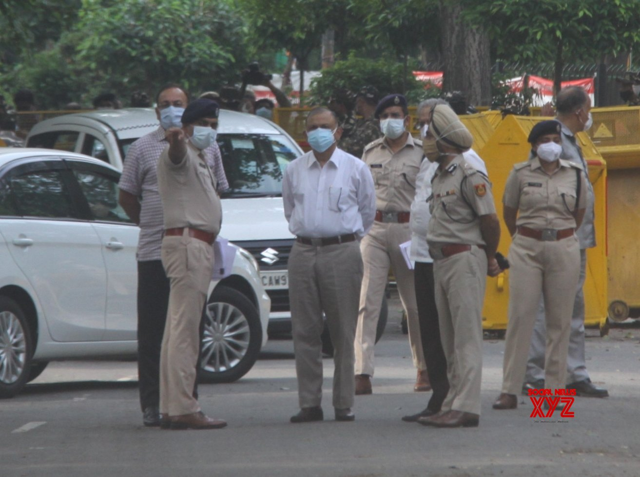 : Delhi Police Commissioner Bala Srivastava along with other senior officers inspecting the protest site of farmers at Jantar mantar in New Delhi on Wednesday. 21 July 2021 #Gallery