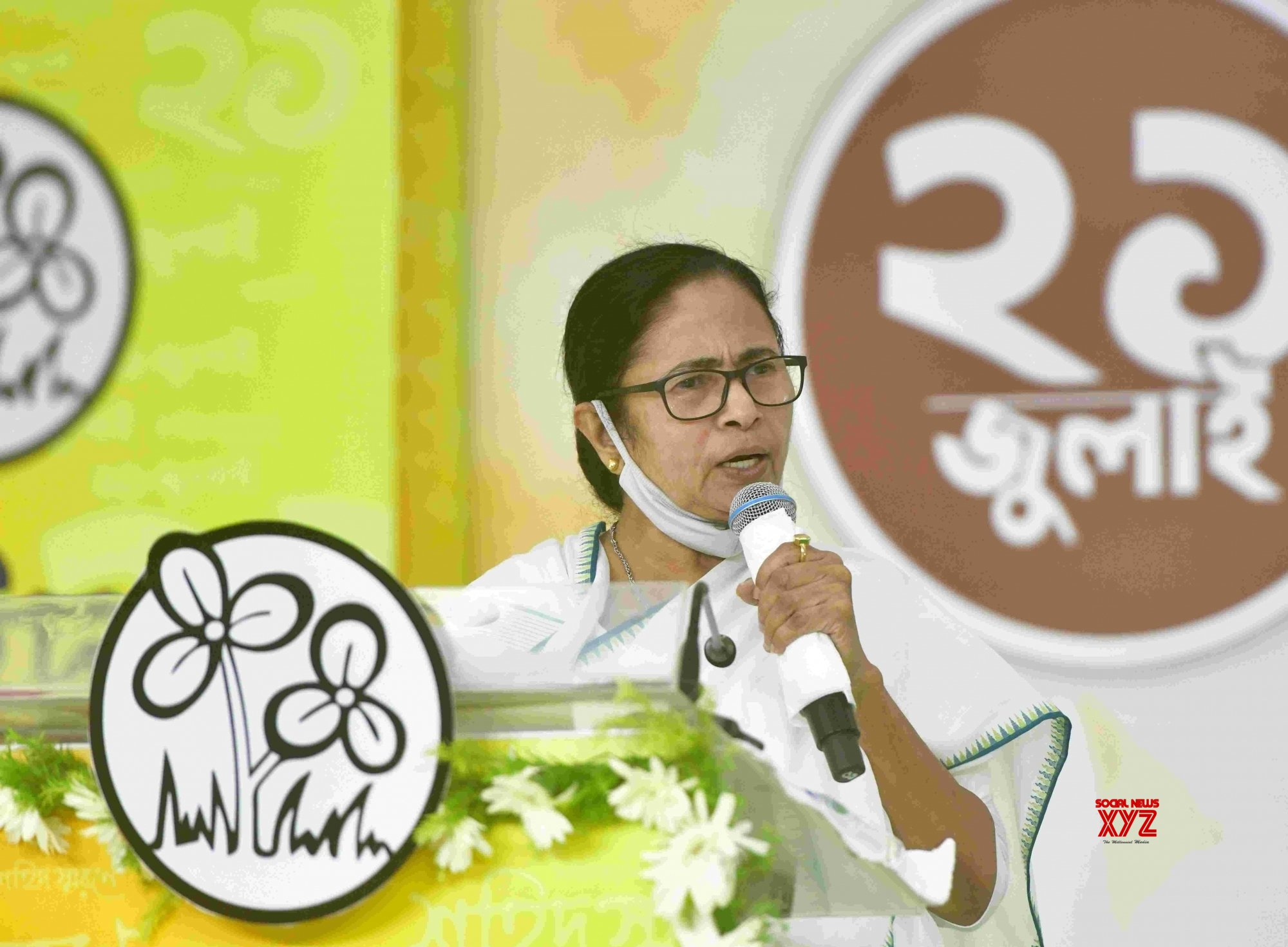 Kolkata : West Bengal Chief Minister and TMC supremo, Mamata Banerjee during 21 July TMC Martyrs day virtually observed at Kalighat her residence in Kolkata on July 21, 2021 #Gallery