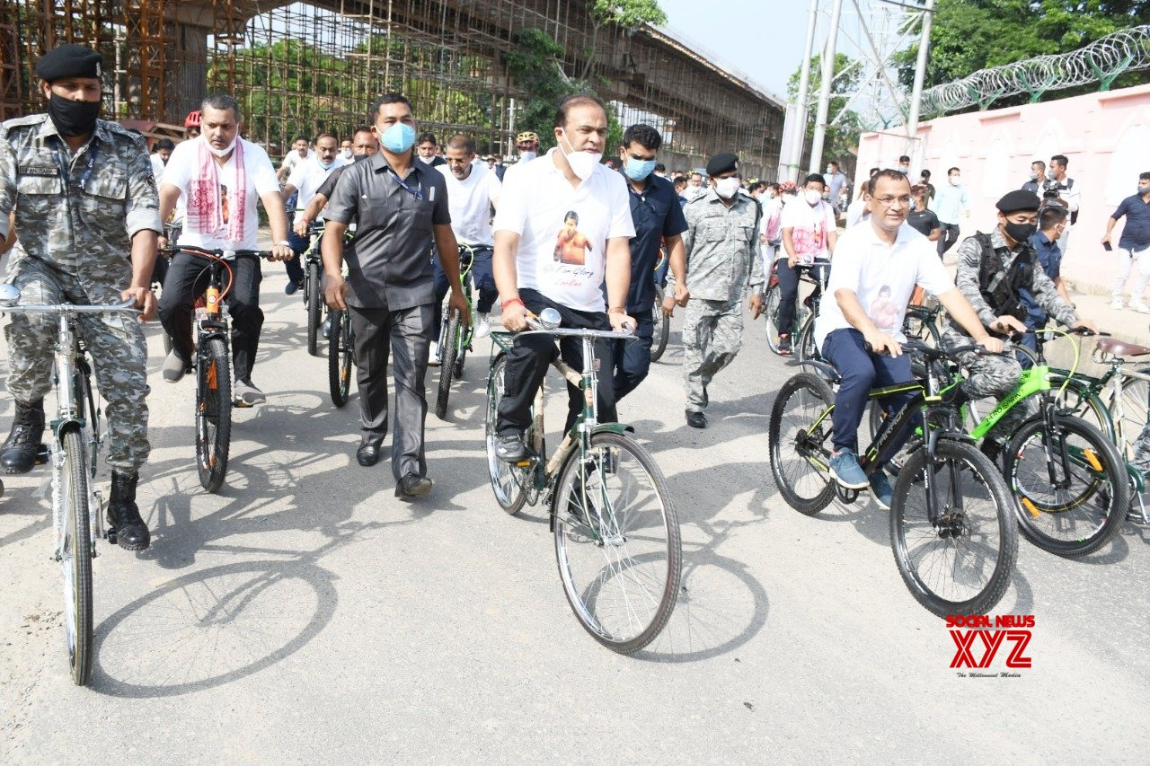 Guwahati: Assam Chief Minister Himanta Biswa Sarma participates in a cycle rally to wish boxer Lovlina Borgohain all the best for the Tokyo Olympic Games, in Guwahati #Gallery