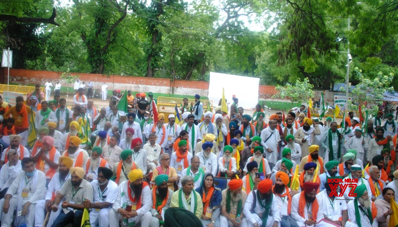 New Delhi: Farmers protest during the monsoon session of Parliament against three farm laws at Jantar Mantar in New Delhi. #Gallery