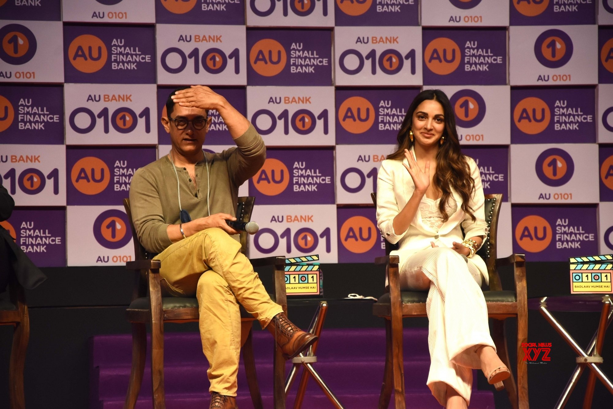 Mumbai: - Aamir Khan and Kiara Advani with Sanjay Agarwal, MD & CEO, AU Small Finance Bank at Santacruz, in Mumbai on Wednesday August 11, 2021 #Gallery