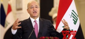 Iraqi President Barham Salih speaks during a joint press conference with French President Emmanuel Macron at Baghdad's Presidential Palace, in Baghdad, Iraq, on Aug. 28, 2021. (Xinhua/Khalil Dawood/IANS)
