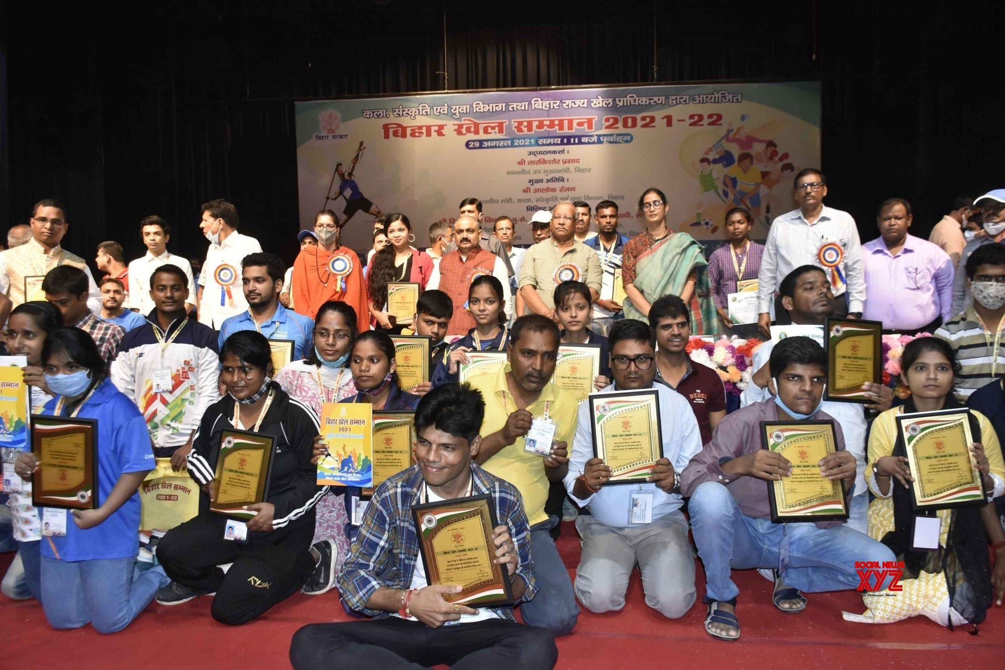 Patna: Bihar Deputy Chief Minister Tarkishore Prasad release a calendar during the sports honor ceremony at Premchand Rangshala in Patna. #Gallery