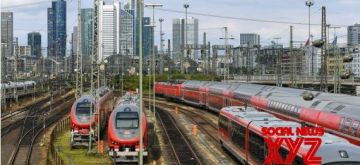 Trains are seen during a train drivers' strike at the rail yard of Frankfurt central station in Frankfurt, Germany, on Aug. 23, 2021.  (Xinhua/Lu Yang/IANS)