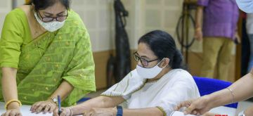 Kolkata: West Bengal Chief Minister Mamata Banerjee filing nomination for Bhabhanipur Assembly constituency by-poll in Kolkata on Friday, September 10, 2021. (Photo:  IANS)