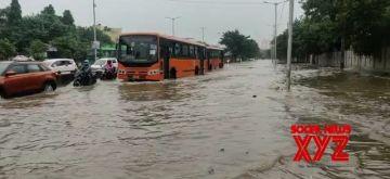 New Delhi: Heavy rain in Delhi NCR Water logging in many parts of Delhi on Saturday, September 11, 2021.  (Photo: Anupam Gautam/IANS)