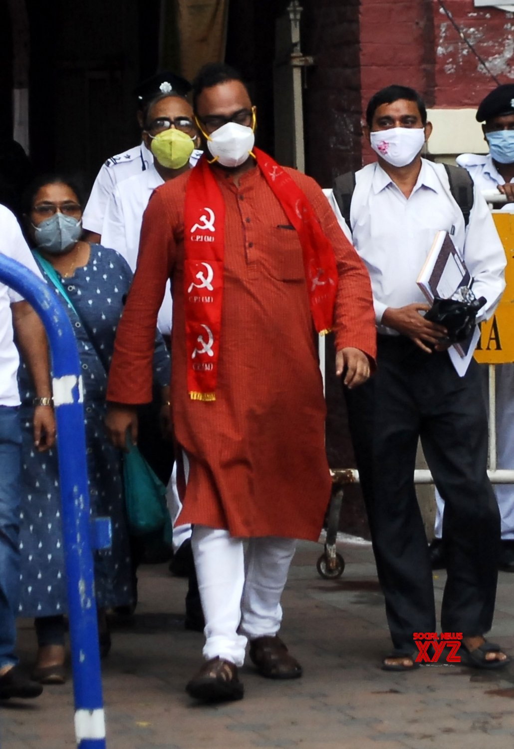 Kolkata: CPI(M) candidate for Bhowanipore constituency by - poll, Sreejib Biswas after filing nomination comes out from Alipore Survey building in Kolkata #Gallery