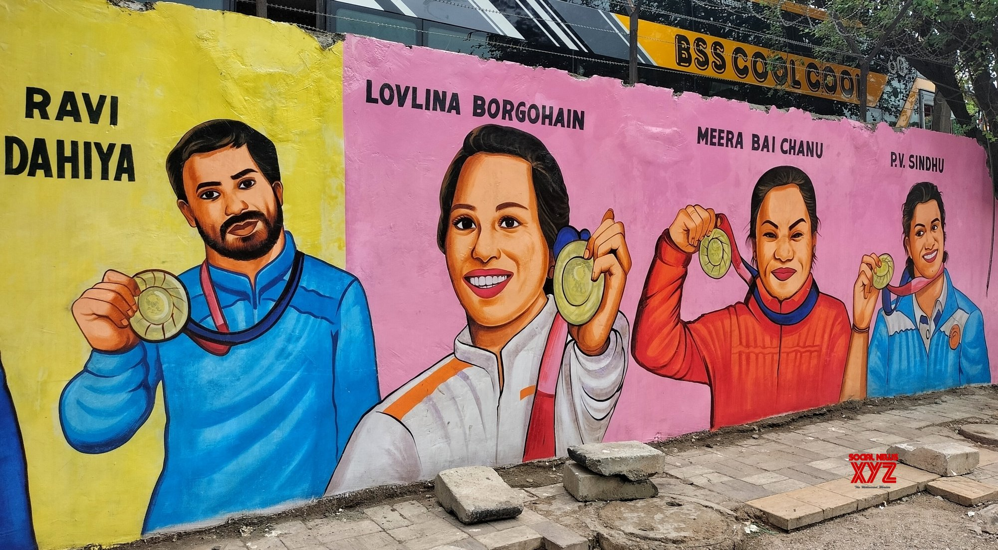 New Delhi: Artist painted graffiti on a wall of Tokyo Olympics and - Paralympics Medal Winners and Athletes near Timarpur Police Station in New Delhi. #Gallery