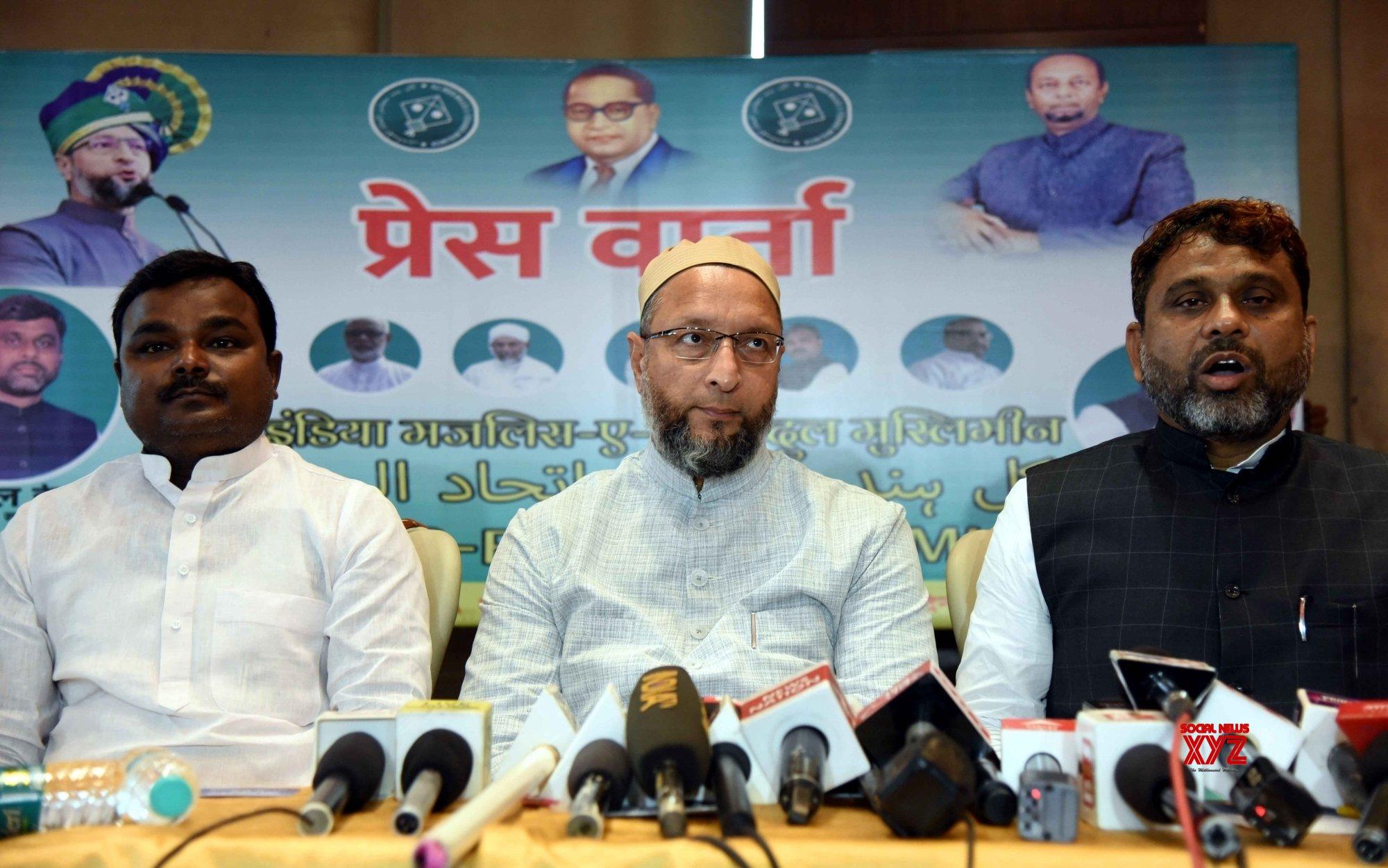 Patna: AIMIM President Asaduddin Owaisi addressing a press conference in Patna. #Gallery