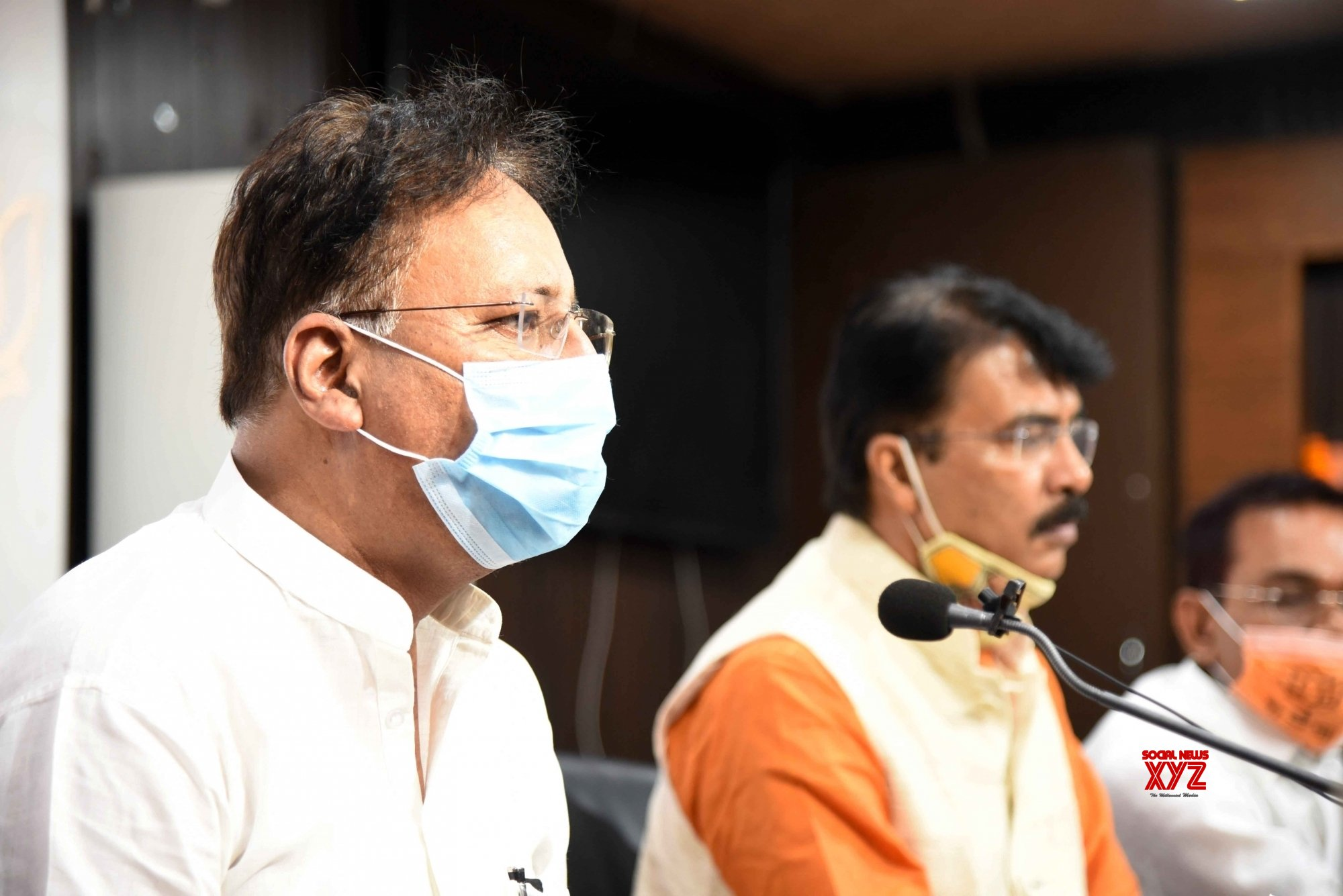 Patna: BJP State President Sanjay Jaiswal holds press conference at BJP office in Patna. #Gallery