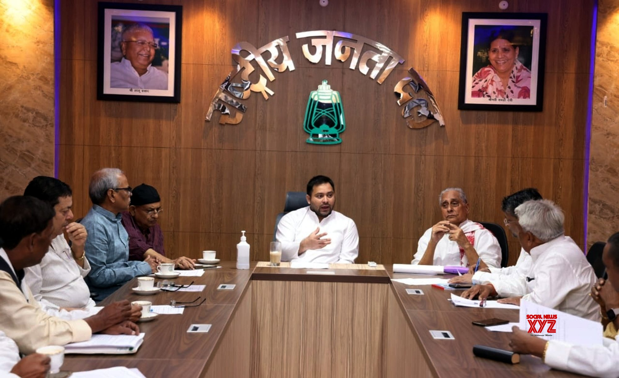 Patna: RJD LEADER TEJASHWI YADAV - ALONG WITH STATE PRESIDENT JAGDANAND SINGH ATTENDS A PARTY MEETING IN PANTA on Wednesday, September 15, 2021 #Gallery