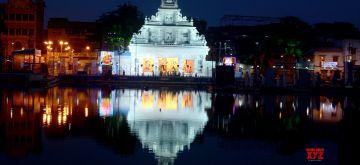 Kolkata:Illuminated College Square Puja pandal ahead of Durga Puja Festival in Kolkata on October 07, 2021.(Photo: Kuntal Chakrabarty/IANS)